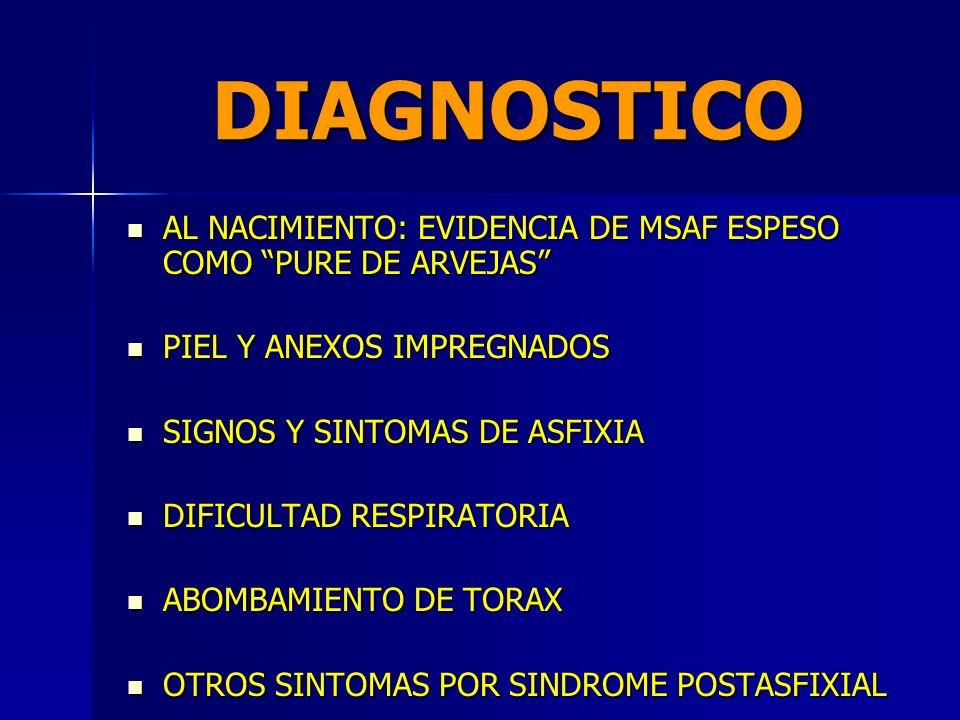 DIAGNOSTICO AL NACIMIENTO: EVIDENCIA DE MSAF ESPESO COMO PURE DE ARVEJAS PIEL Y ANEXOS IMPREGNADOS.