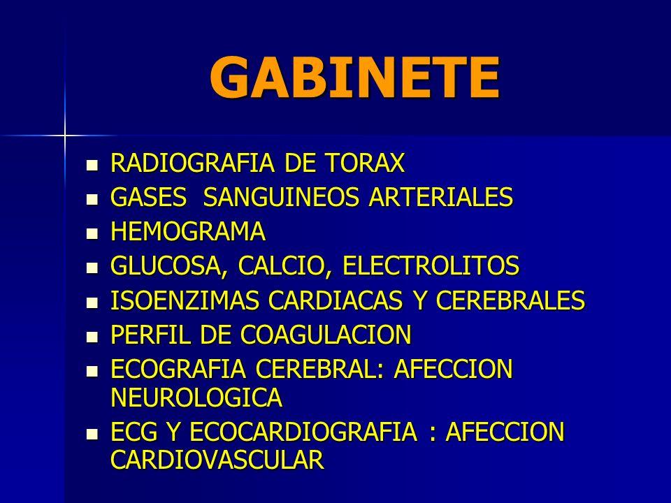 GABINETE RADIOGRAFIA DE TORAX GASES SANGUINEOS ARTERIALES HEMOGRAMA