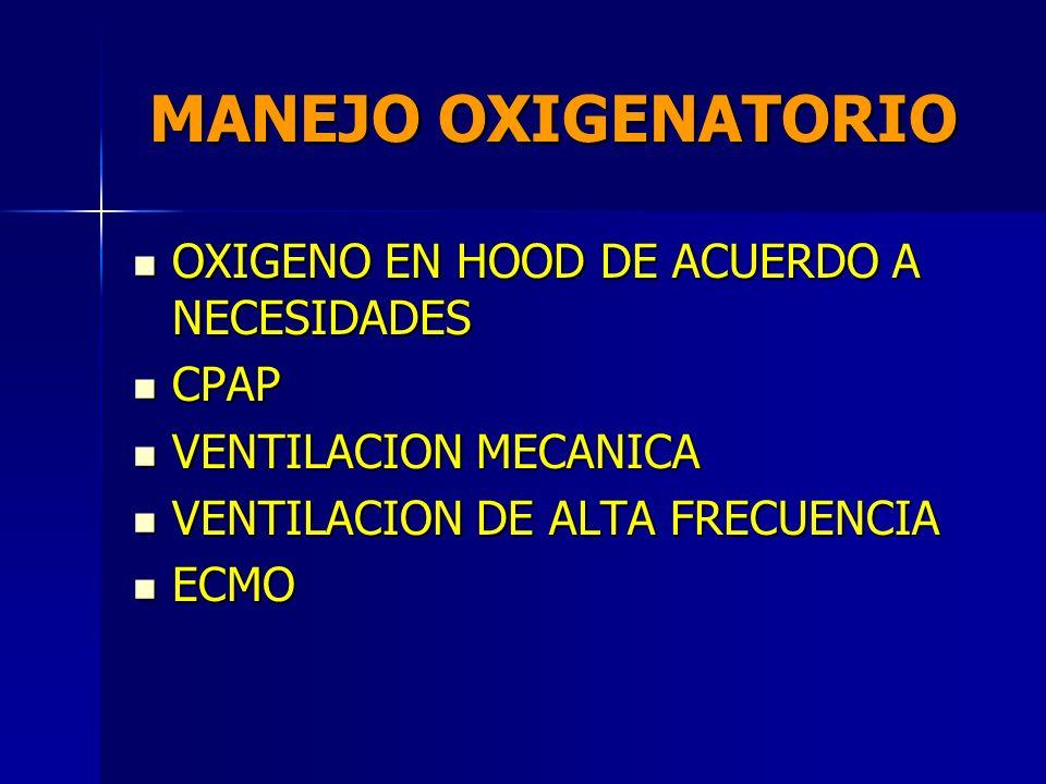 MANEJO OXIGENATORIO OXIGENO EN HOOD DE ACUERDO A NECESIDADES CPAP