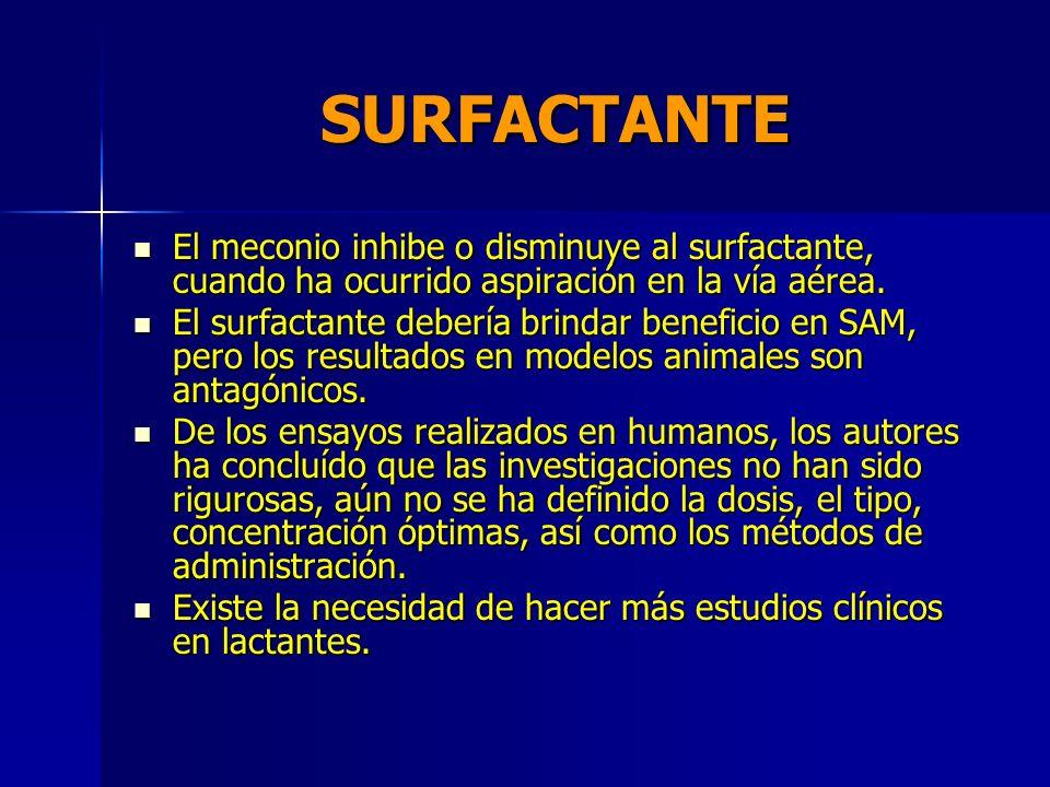 SURFACTANTE El meconio inhibe o disminuye al surfactante, cuando ha ocurrido aspiración en la vía aérea.
