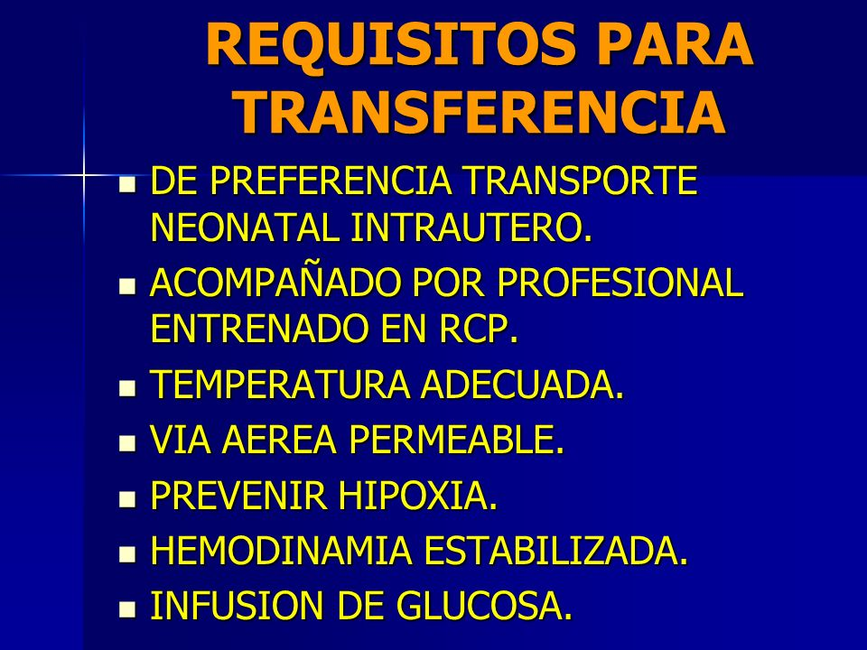 REQUISITOS PARA TRANSFERENCIA
