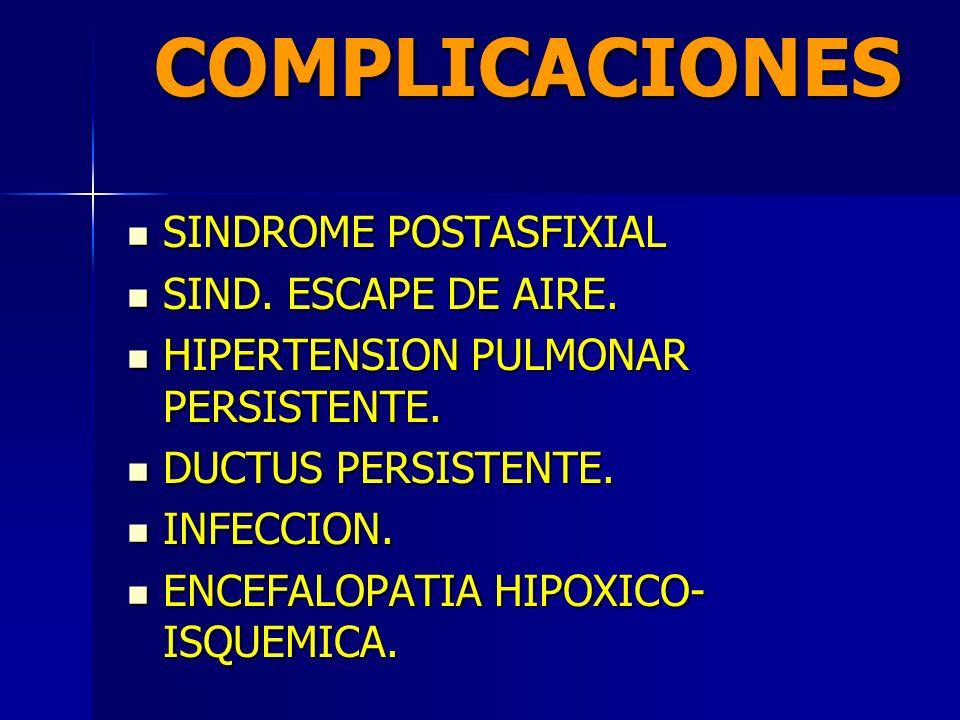 COMPLICACIONES SINDROME POSTASFIXIAL SIND. ESCAPE DE AIRE.