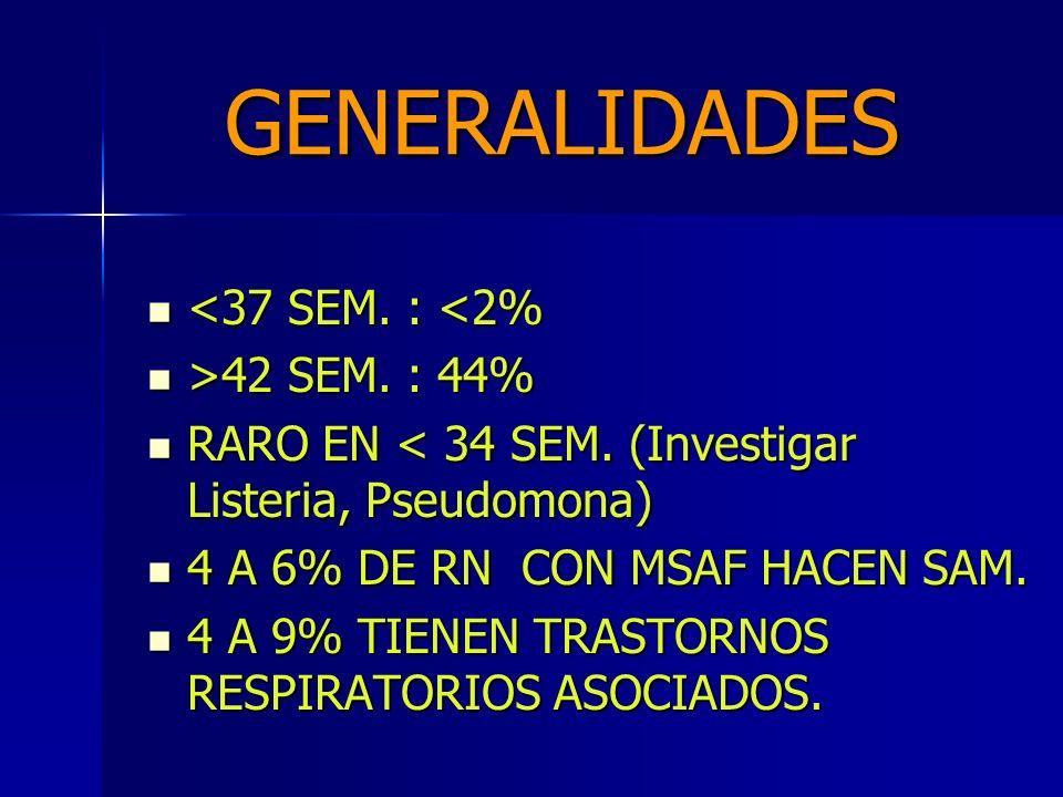 GENERALIDADES <37 SEM. : <2% >42 SEM. : 44%