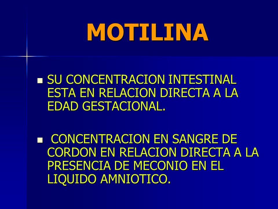 MOTILINA SU CONCENTRACION INTESTINAL ESTA EN RELACION DIRECTA A LA EDAD GESTACIONAL.