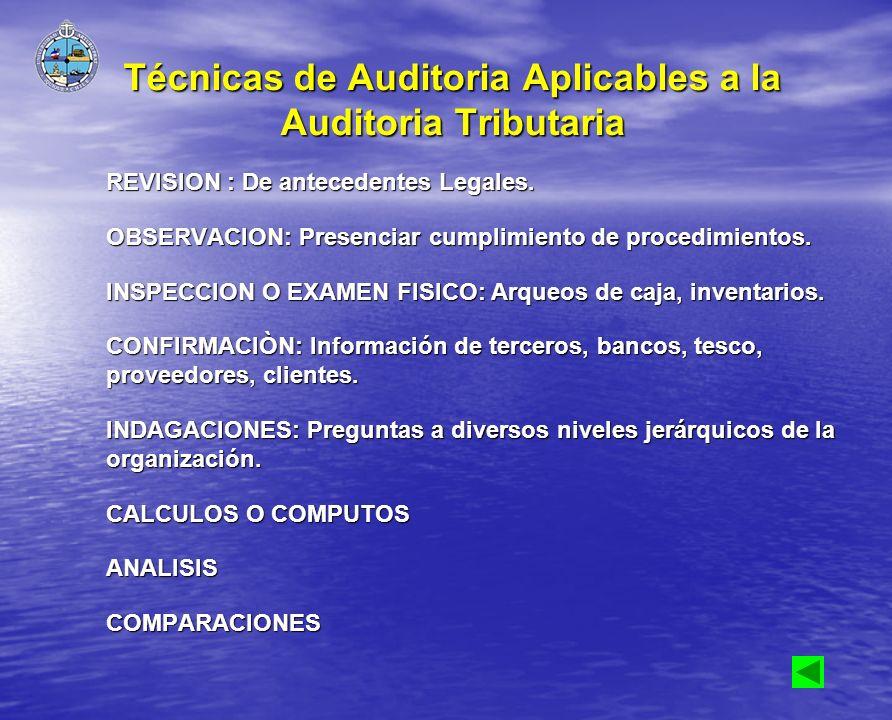 Técnicas de Auditoria Aplicables a la Auditoria Tributaria