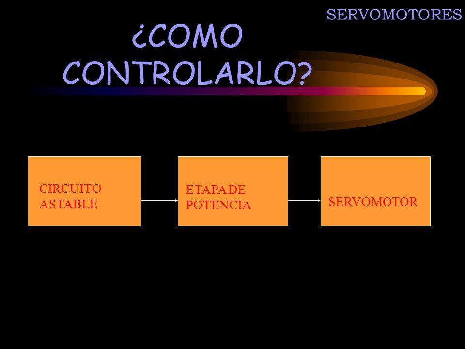 ¿COMO CONTROLARLO SERVOMOTORES CIRCUITO ASTABLE ETAPA DE POTENCIA
