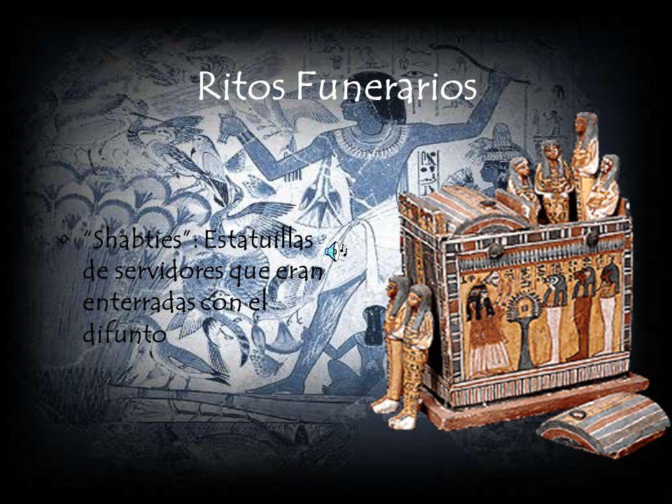 Ritos Funerarios Shabties : Estatuillas de servidores que eran enterradas con el difunto