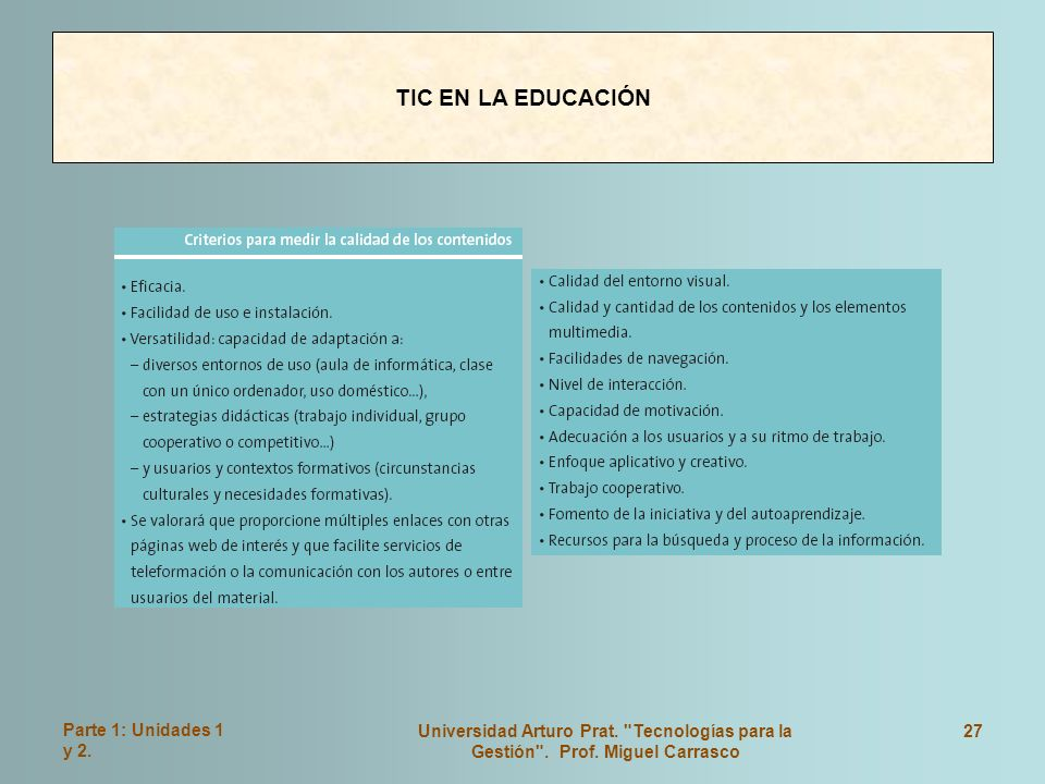 TIC EN LA EDUCACIÓN Parte 1: Unidades 1 y 2.