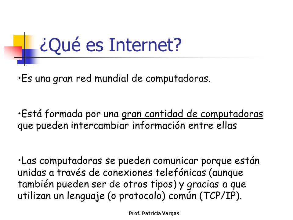 ¿Qué es Internet Es una gran red mundial de computadoras.