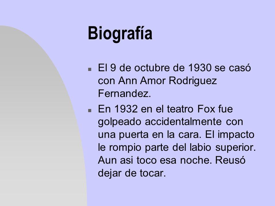 Biografía El 9 de octubre de 1930 se casó con Ann Amor Rodriguez Fernandez.