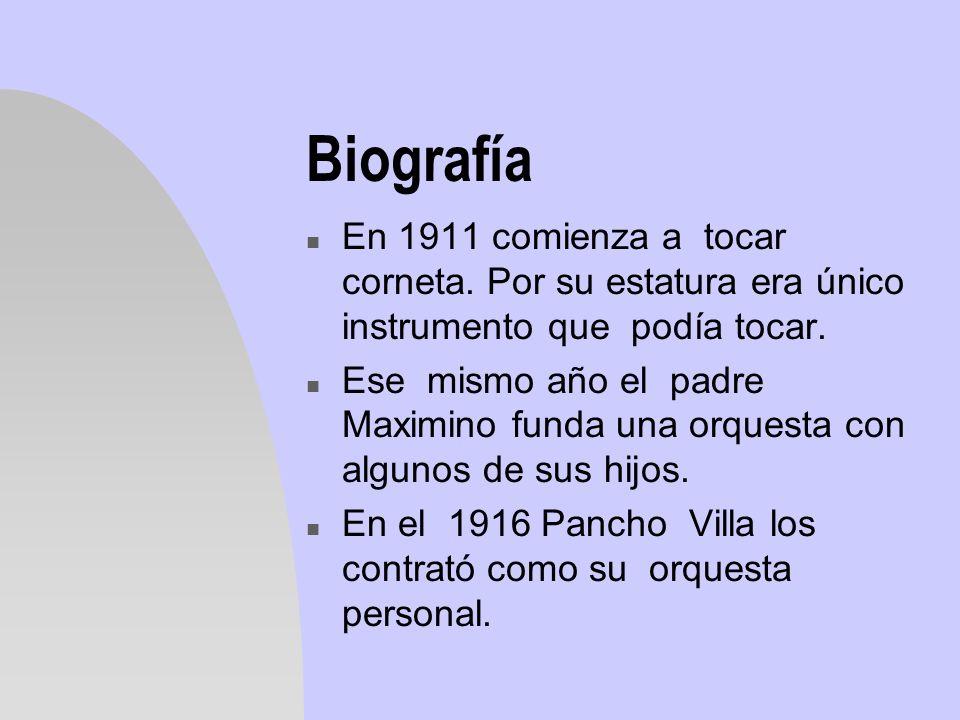 BiografíaEn 1911 comienza a tocar corneta. Por su estatura era único instrumento que podía tocar.
