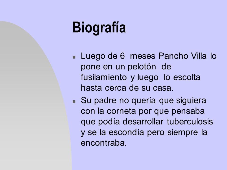 Biografía Luego de 6 meses Pancho Villa lo pone en un pelotón de fusilamiento y luego lo escolta hasta cerca de su casa.