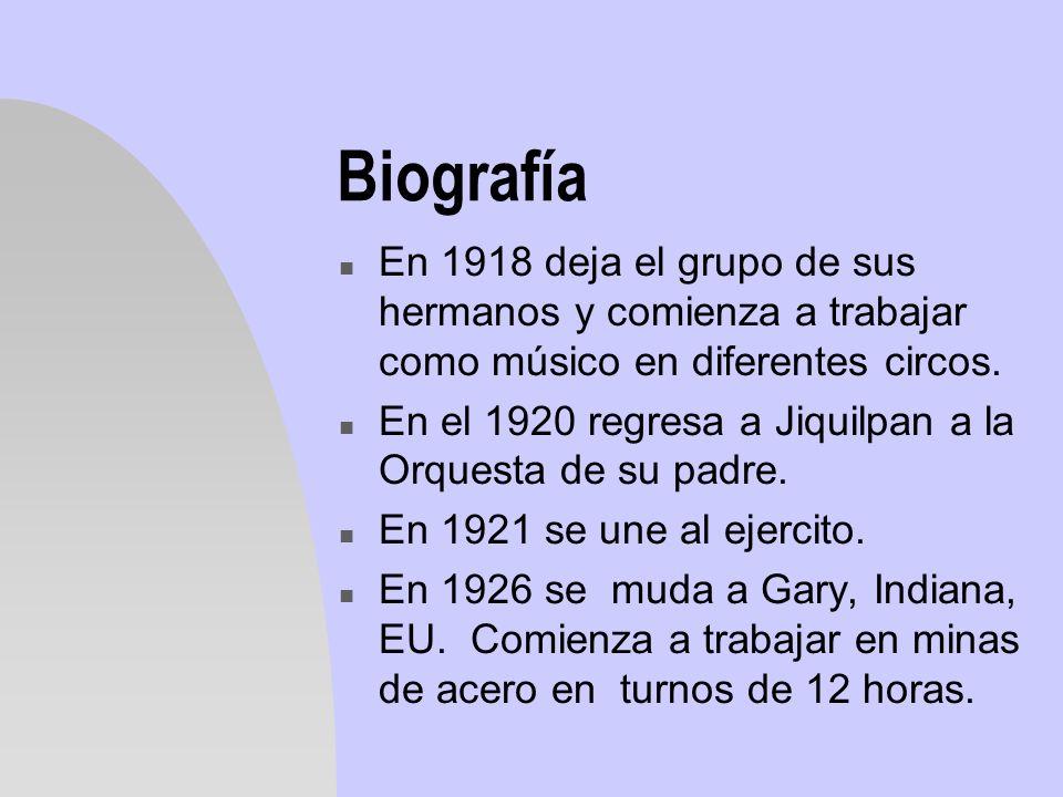 Biografía En 1918 deja el grupo de sus hermanos y comienza a trabajar como músico en diferentes circos.