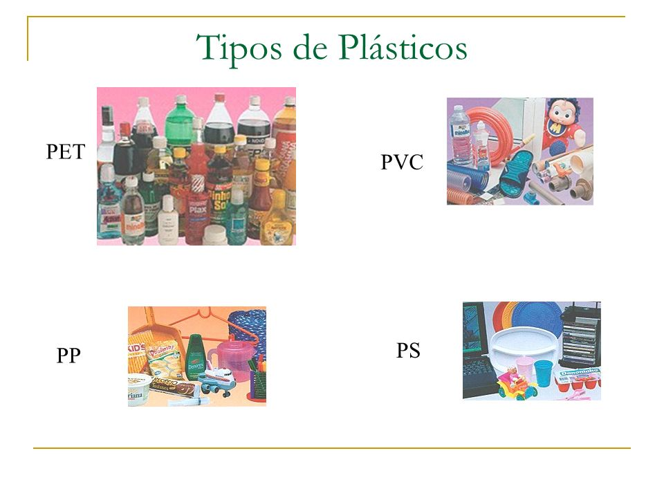 Tipos de Plásticos PET PVC PS PP