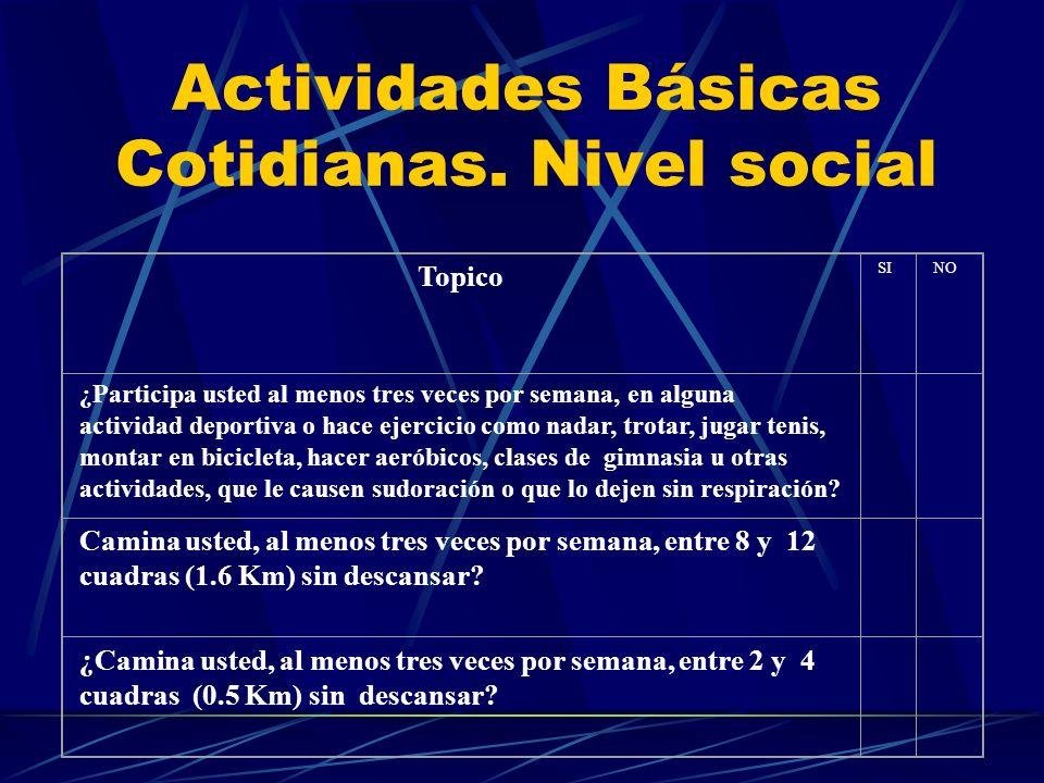Actividades Básicas Cotidianas. Nivel social