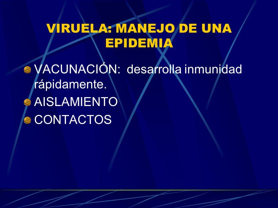 VIRUELA: MANEJO DE UNA EPIDEMIA