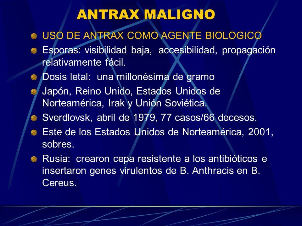 ANTRAX MALIGNO USO DE ANTRAX COMO AGENTE BIOLOGICO