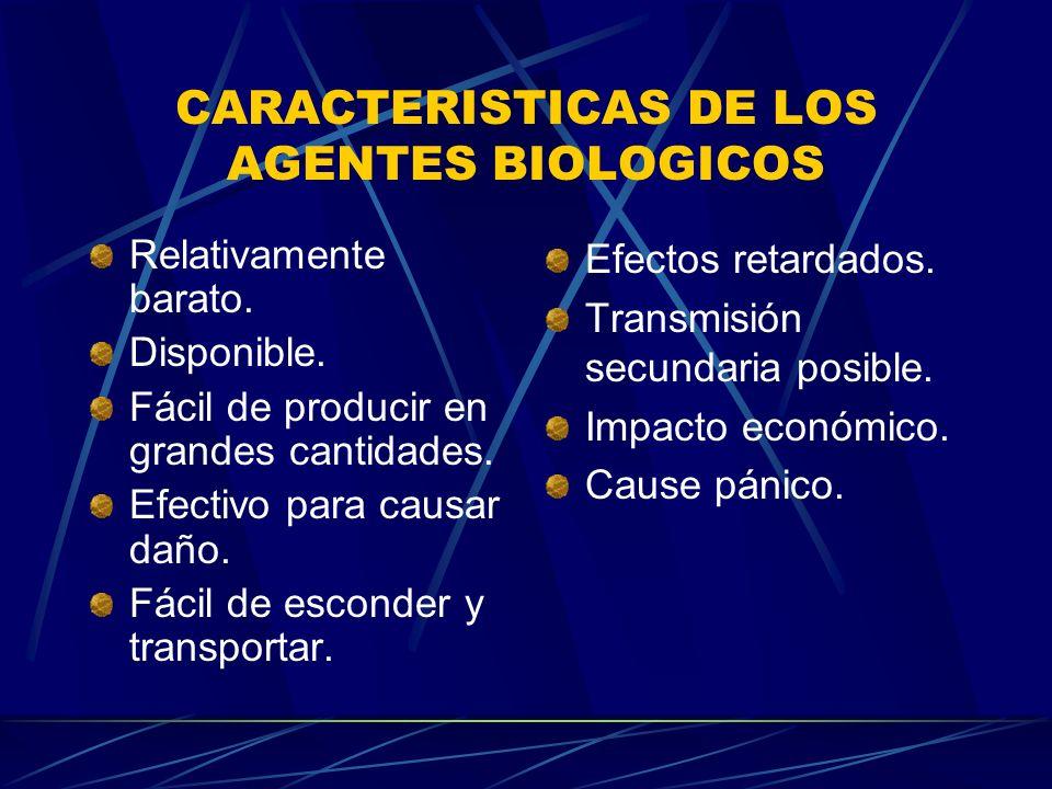 CARACTERISTICAS DE LOS AGENTES BIOLOGICOS