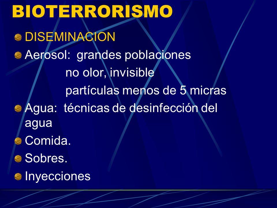 BIOTERRORISMO DISEMINACION Aerosol: grandes poblaciones