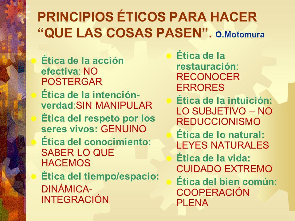 PRINCIPIOS ÉTICOS PARA HACER QUE LAS COSAS PASEN . O.Motomura