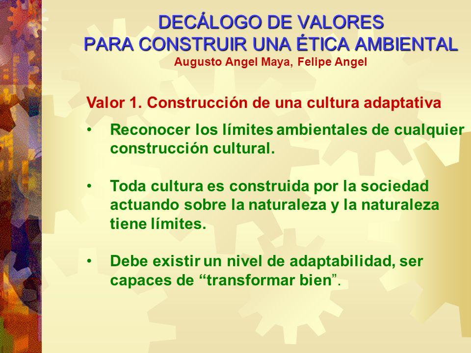 DECÁLOGO DE VALORES PARA CONSTRUIR UNA ÉTICA AMBIENTAL Augusto Angel Maya, Felipe Angel