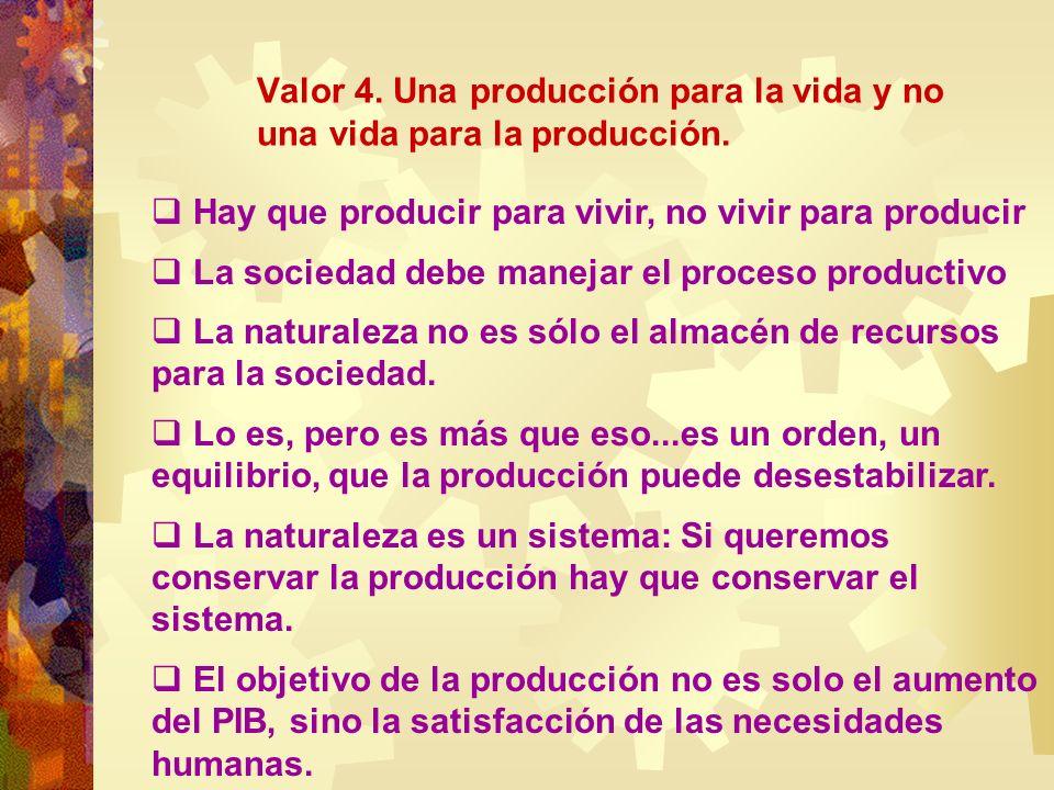Valor 4. Una producción para la vida y no una vida para la producción.