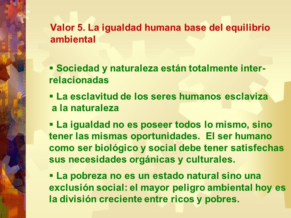 Valor 5. La igualdad humana base del equilibrio ambiental