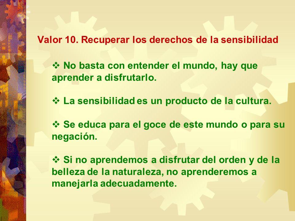 Valor 10. Recuperar los derechos de la sensibilidad