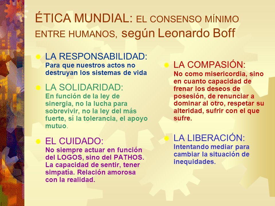 ÉTICA MUNDIAL: EL CONSENSO MÍNIMO ENTRE HUMANOS, según Leonardo Boff