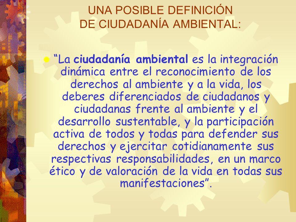 UNA POSIBLE DEFINICIÓN DE CIUDADANÍA AMBIENTAL: