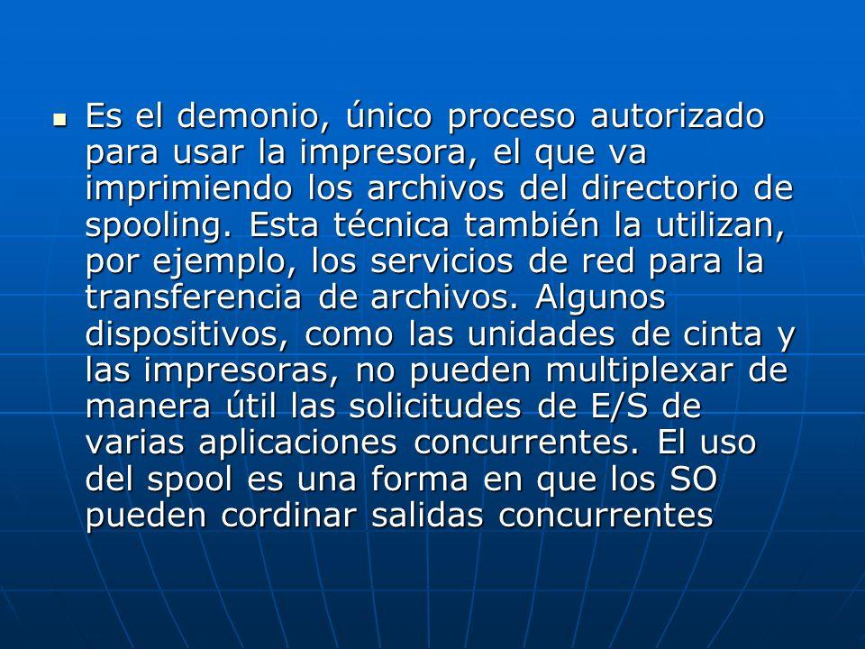 Es el demonio, único proceso autorizado para usar la impresora, el que va imprimiendo los archivos del directorio de spooling.