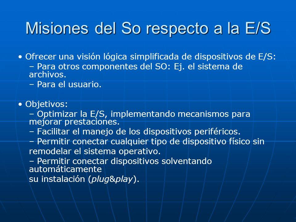 Misiones del So respecto a la E/S