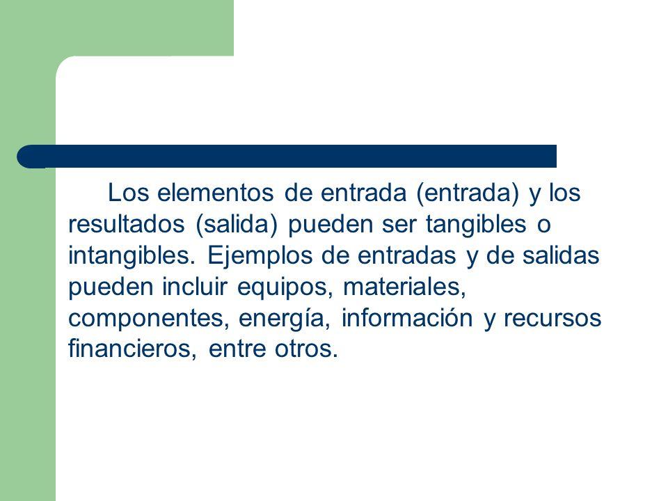 Los elementos de entrada (entrada) y los resultados (salida) pueden ser tangibles o intangibles.