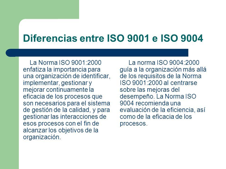 Diferencias entre ISO 9001 e ISO 9004