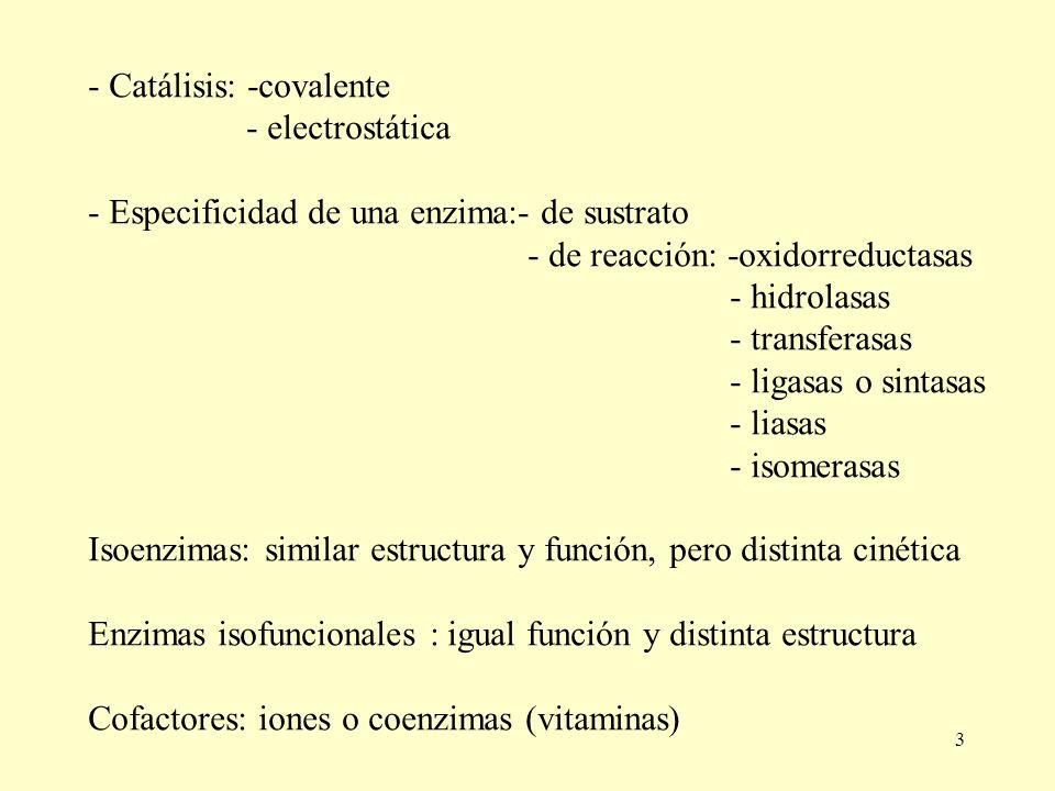 - Catálisis: -covalente