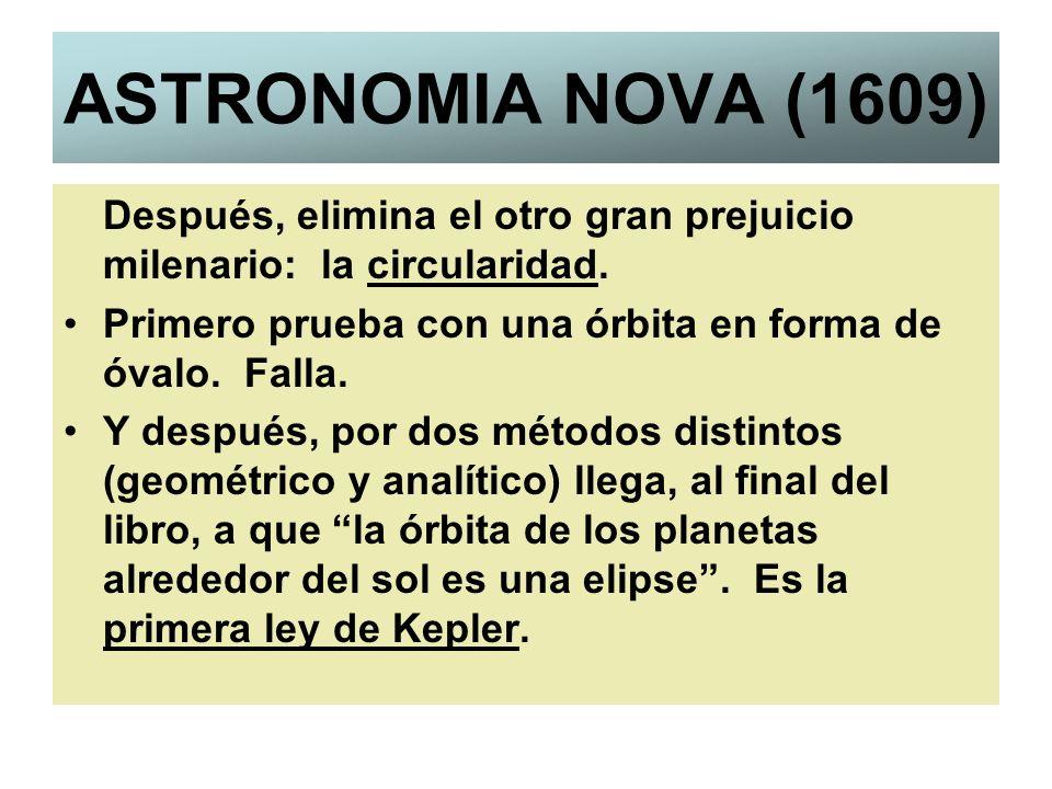 ASTRONOMIA NOVA (1609)Después, elimina el otro gran prejuicio milenario: la circularidad. Primero prueba con una órbita en forma de óvalo. Falla.
