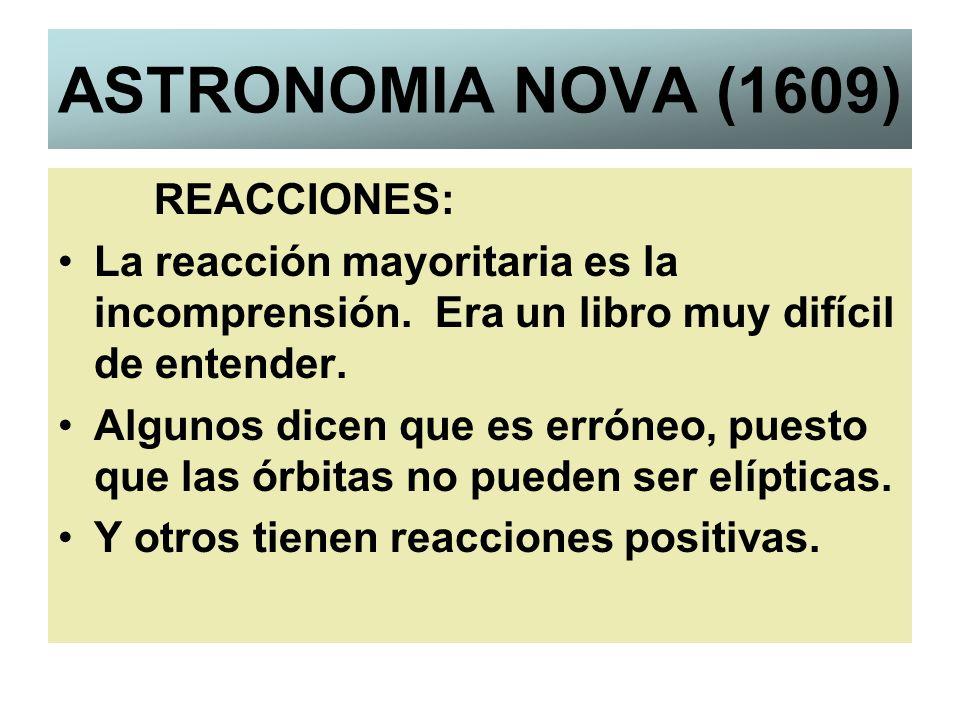 ASTRONOMIA NOVA (1609) REACCIONES: