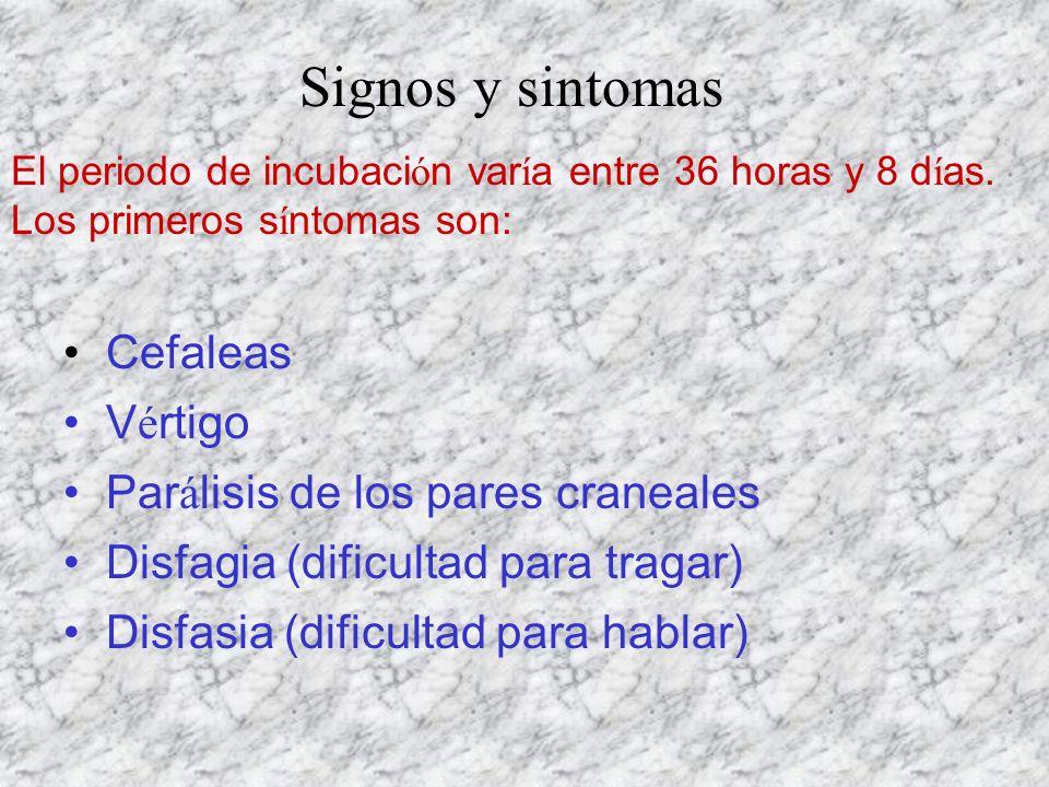 Signos y sintomas Cefaleas Vértigo Parálisis de los pares craneales