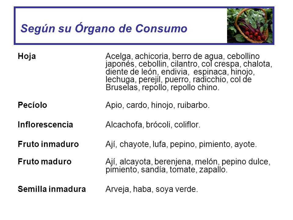 Según su Órgano de Consumo