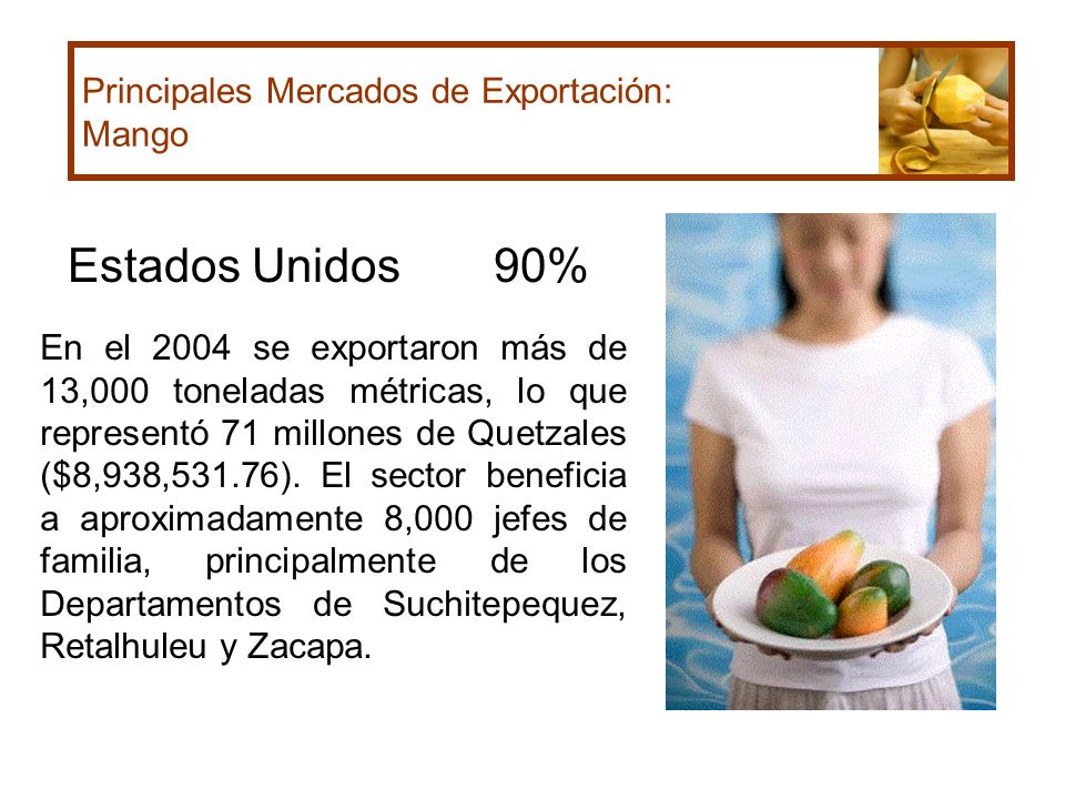Estados Unidos 90% Principales Mercados de Exportación: Mango