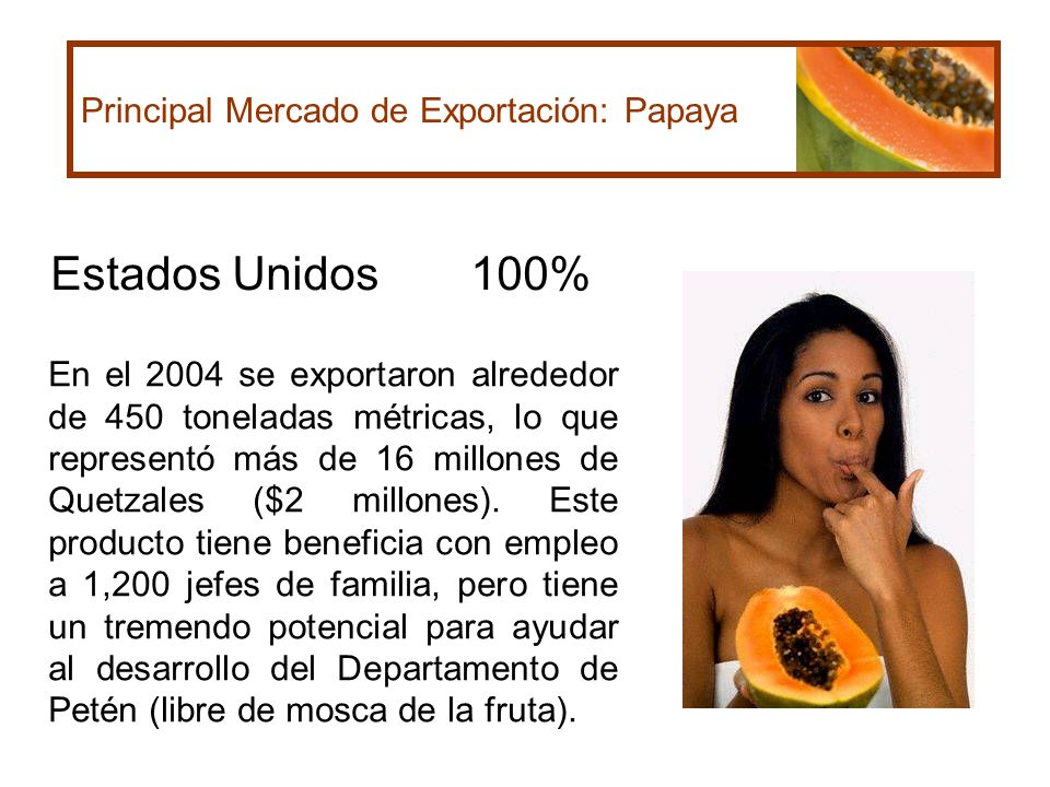 Estados Unidos 100% Principal Mercado de Exportación: Papaya