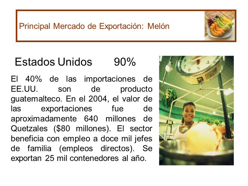 Estados Unidos 90% Principal Mercado de Exportación: Melón