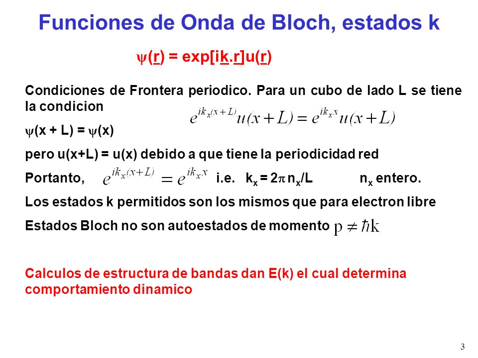 Funciones de Onda de Bloch, estados k