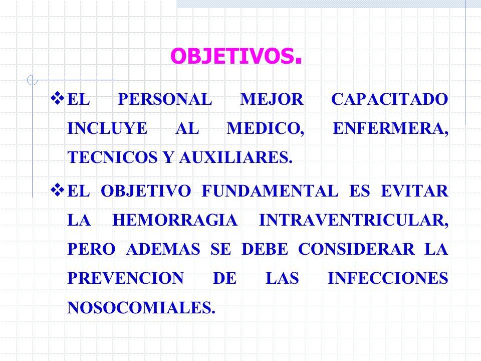 OBJETIVOS. EL PERSONAL MEJOR CAPACITADO INCLUYE AL MEDICO, ENFERMERA, TECNICOS Y AUXILIARES.