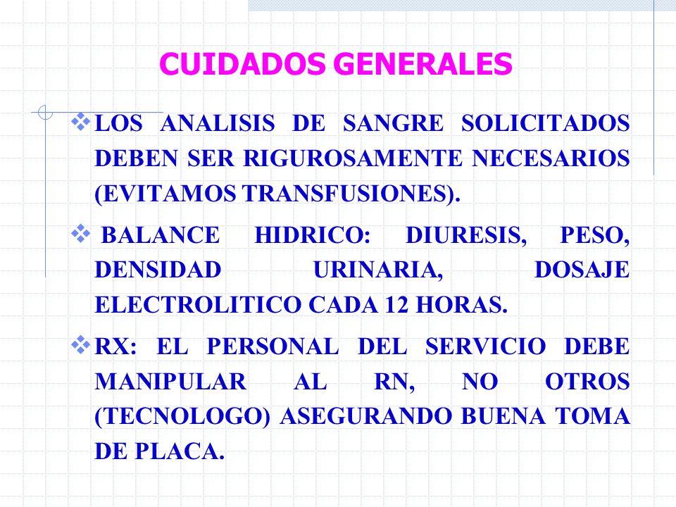 CUIDADOS GENERALES LOS ANALISIS DE SANGRE SOLICITADOS DEBEN SER RIGUROSAMENTE NECESARIOS (EVITAMOS TRANSFUSIONES).