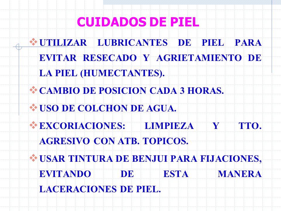 CUIDADOS DE PIEL UTILIZAR LUBRICANTES DE PIEL PARA EVITAR RESECADO Y AGRIETAMIENTO DE LA PIEL (HUMECTANTES).