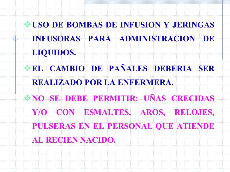 USO DE BOMBAS DE INFUSION Y JERINGAS INFUSORAS PARA ADMINISTRACION DE LIQUIDOS.
