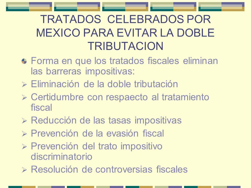 TRATADOS CELEBRADOS POR MEXICO PARA EVITAR LA DOBLE TRIBUTACION