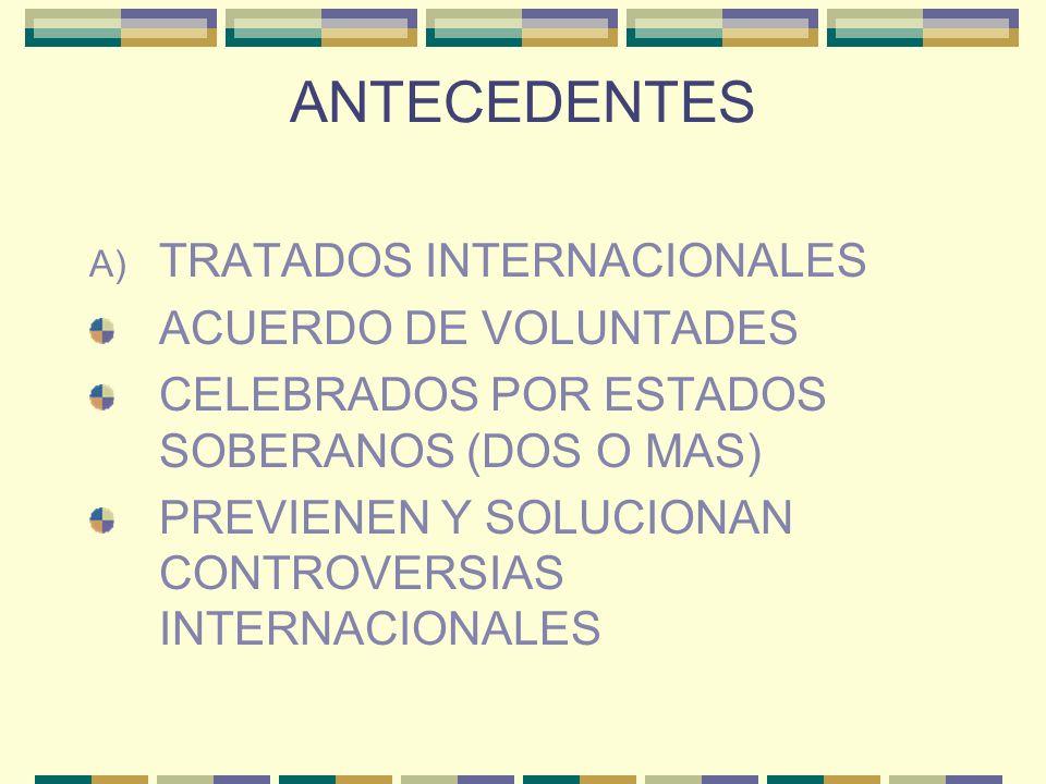 ANTECEDENTES TRATADOS INTERNACIONALES ACUERDO DE VOLUNTADES