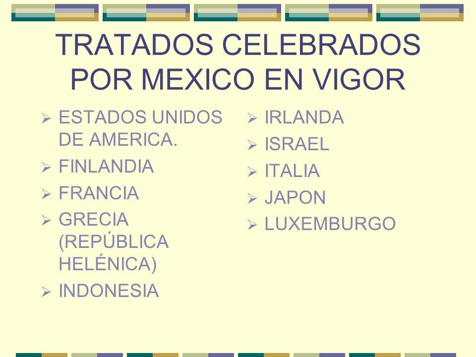 TRATADOS CELEBRADOS POR MEXICO EN VIGOR